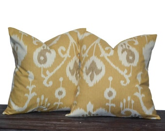 """Yellow Pillows - 20"""" Yellow Ikat Pillow Set - Set of 20 x 20 Inch Neutral Pillow Covers - Yellow, Cream and Light Brown - Home Decor - Gift"""
