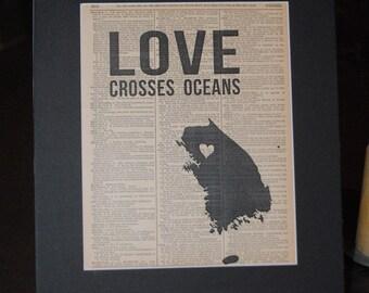 Love Crosses Oceans (South Korea) - Vintage Adoption Word  Art