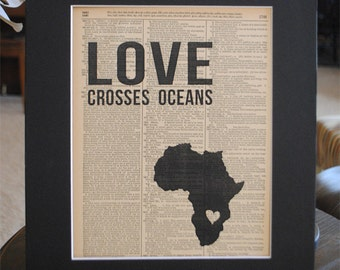 Love Crosses Oceans (Zambia) - Vintage Adoption Word Art