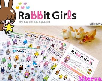 Rabbit Girls Sticker Set - Diary Sticker - Deco Sticker - Korean Sticker - 6 sheets
