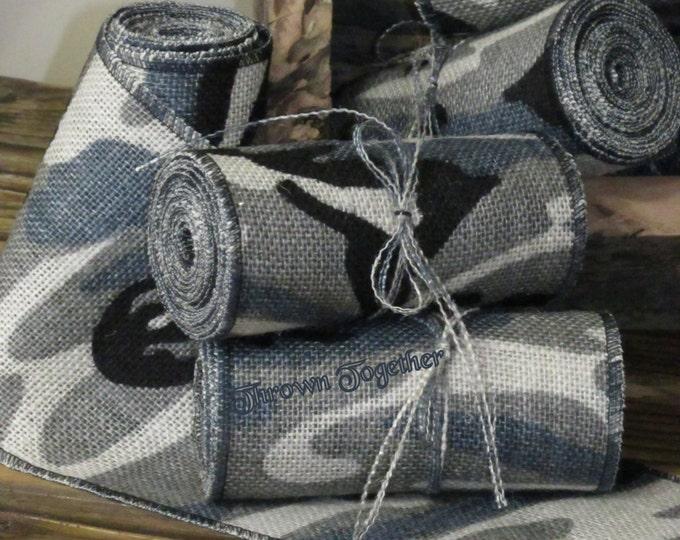 Blue Grey Camouflage Ribbon 5inch, Blue Gray Camo Burlap Ribbon, Camo Chair Sash, Burlap, Camouflage Decoration, Camo Wedding Decor