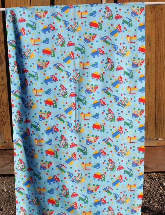 Vintage kids truck car cotton fabric boys blue fabric for Novelty children s fabric