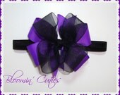 Little MISS Little MISS MADELYN Newborn Infant Toddlers and Girls Double-Stacked Purple & Black Headband Bow by Bloomin' Cuties
