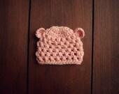 crochet baby bear beanie in light coral