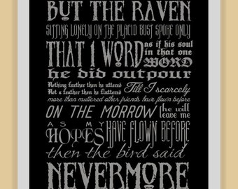 NEVERMORE Edgar Allan Poe quote modern print poster