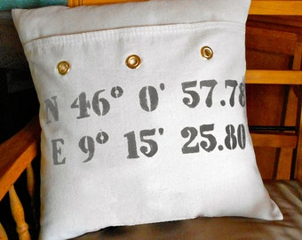 Personalized Longitude Latitude Pillow Cover, Custom Location Pillow, Decorative MailBag Pillow Cover,Unique Birthday,Wedding,Christmas Gift