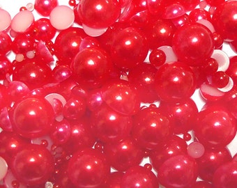 800pc Assorted Size RED Flat Back Pearls