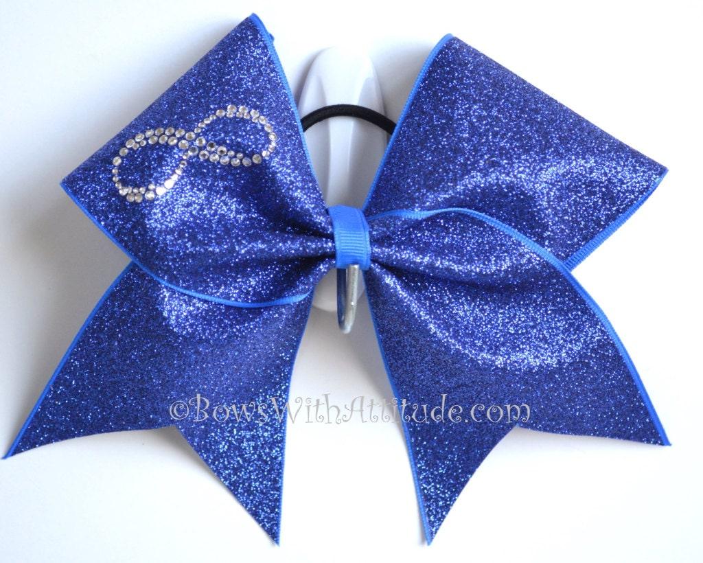 3 Wide Luxury Cheer Bow Rhinestone Infinity Blue