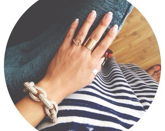 wide gold band ring //