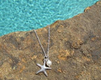 BRIDESMAID STARFISH NECKLACE --- choose Quantity ---- Starfish Necklaces - Beach Jewelry - Bridesmaid Starfish Necklace