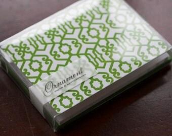 Green Trellis Letterpress Card Set