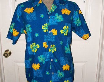 Vintage 1980s Canyon River Blues Hawaiian Shirt - Mens Hawaiian Shirt - Size XL 18 - 100% Polyester