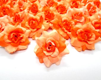 12 two-tone Orange mini Roses Heads - Artificial Silk Flower - 1.75 inches - Wholesale Lot - for Wedding Work, Make Hair clips, headbands