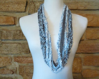 Women infinity scarf hand crocheted in shades of pale blue, gray and white