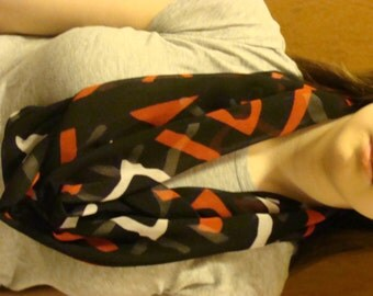 Infinity Scarf, Black with Red and white accents Save!