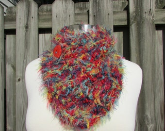 Bright Colored Scarf Neckwarmer Red Blue Teal and Yellow with Red Button