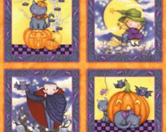 Glow in the Dark Happy Haunting Panel - 8 - 10 inch squares - Fabric By The Yard