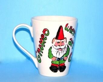 Gnome Mug, Gnomeo Gnome - Custom Mug for hot and cold beverages - hand made, 4.5 inches tall