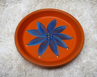 Hand Painted Terra Cotta Dish in Orange with Blue Flower Perfect for Jewelry Keys and Change