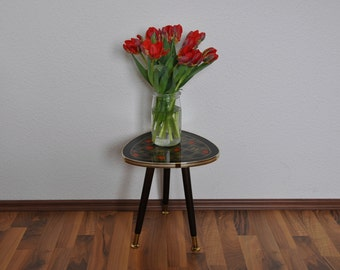 SALE Rare Mid Century Plant Stand. Glass top. Red, black and gold design.  Germany.  1950s. Small Coffee Table.