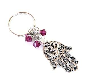 Hamsa Keychain Om Bag Charm Keyring Protection Yoga Accessories Fushia Hot Pink Unique Birthday Gift Under 20 Item G38