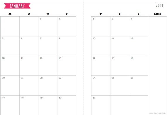 A5 Monthly 2014 Calendar printable for planner, Filofax, diary PINK
