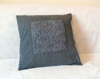 Decorative pillow cover 18 x 18, grey wool and boucle knitwear cushion case. Upcycled recycled repurposed home decor, OOAK hygge style gift.