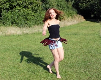 Plaited fabric belt with fringe, black and burgundy, tribal, upcycled recycled repurposed, eco friendly, one of a kind accessory for her.