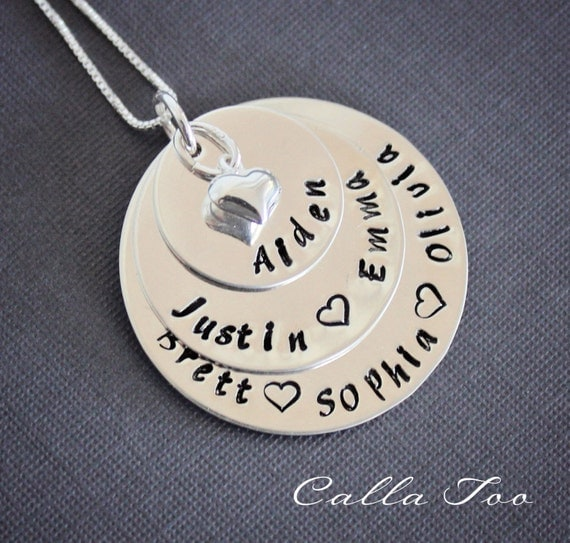 Mothers necklace, Grandmother jewelry, sterling silver stacked necklace, personalized, customized, mommy jewelry, grandma, gift for mom