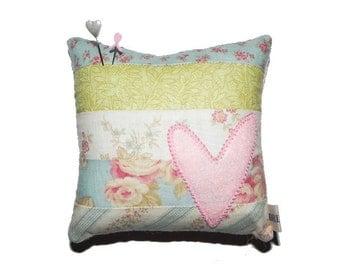 Wool Appliqué Pincushion Pillow - Pink Heart on Patchwork