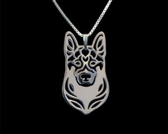 German Shepherd dog jewelry - sterling silver pendant and necklace