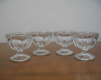 Vintage Pressed Glass Ice Cream/Pudding/Fruit/Dessert Cups - Set of Four