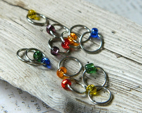Knit Me a Rainbow / Snag Free Stitch Markers - Dangle Free Knitting Stitch Markers - Small Medium Large Sizes Available