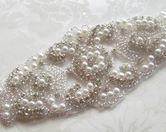Rhinestone Applique / Bridal Applique / Pearl Applique / Beaded Applique / Diy sash / (RA-05) Iron on
