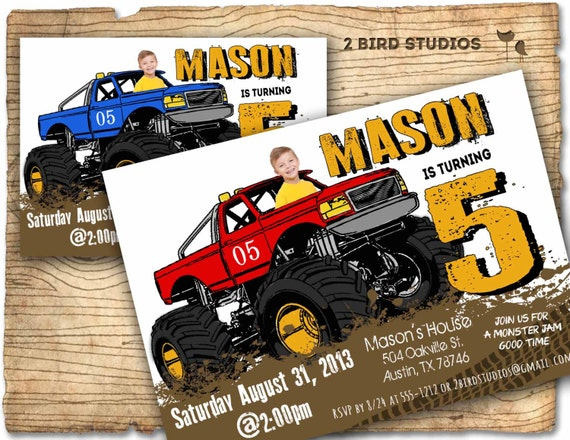 Monster truck invitation Monster truck party invite DIY