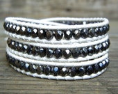 Beaded Leather Wrap Bracelet 3 or 4 Wrap with Hematite Gray Czech Glass Beads on White Leather