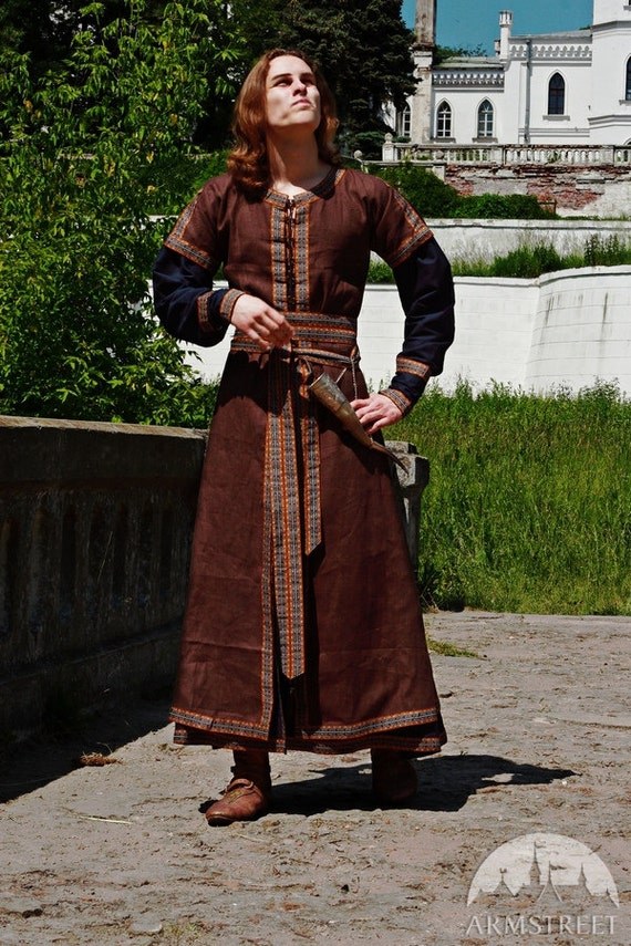 20% DISCOUNT! Medieval Mens Costume: Long Tunic and Overcoat Set