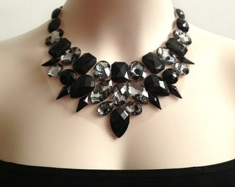 black and lace rhinestone bib necklace, bridesmaids, prom, wedding, statement necklace