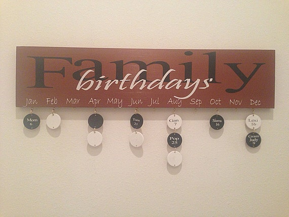 Family Birthday Wood Sign With 20 Wood Discs