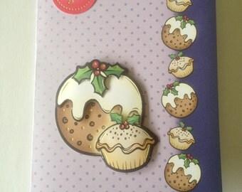 merry christmas card, plum pudding card, christmas pudding, 3 D card, decoupage,