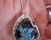 Sterling Silver Wire Wrapped Glass Implosion Cabochon Pendant