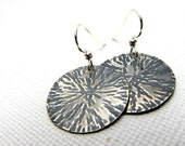 Silver Disc Earrings, Starburst Earrings, Textured Circle Silver Earrings, Hammered Metal Earrings