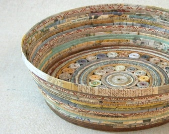 Recycled Coiled Paper Basket Bowl Large, Earth Tones, Handmade