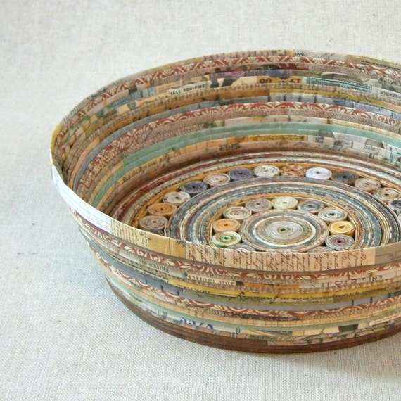 Handmade Basket Paper : Recycled coiled paper basket bowl large earth tones handmade