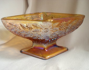Vintage Carnival Glass Gold Indiana Glass Autumn Candy Dish Retro Mid-Century Vintage