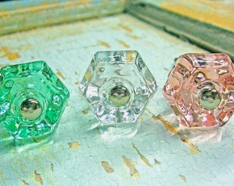 Shabby Chic Glass Knobs *VINTAGE Furniture Knobs  * Shabby chic furniture  ONLY  2.95