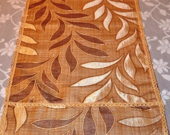 Brown Table Runner, Cream Table Runner, Beige Table Runner, Leaves, 72x14, Long Table Runner,  Modern Table Runner, Table Runner Brown