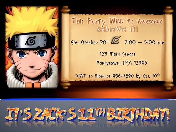 Items similar to Custom Naruto Birthday Party Invitation ...