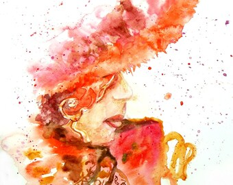 Woman in red hat, original abstract watercolor painting, woman art