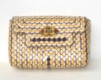 1950s authentic PRISON ART purse - 1950s clutch - 1950s cigarette wrapper handbag - 1950s handbag - vintage handbag
